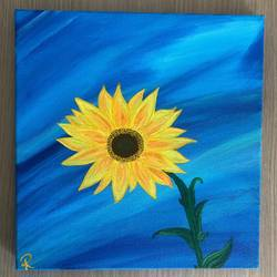 sunflower, 10 x 12 inch, ruchi chandra verma,10x12inch,canvas,paintings,flower paintings,nature paintings | scenery paintings,paintings for dining room,paintings for living room,paintings for bedroom,paintings for office,paintings for kids room,acrylic color,GAL02794541858