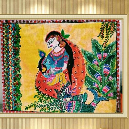 madhubani mothers love, 14 x 11 inch, poonam burman,14x11inch,canvas,folk art paintings,paintings for dining room,paintings for living room,paintings for bedroom,paintings for dining room,paintings for living room,paintings for bedroom,mixed media,oil color,watercolor,GAL02536341862