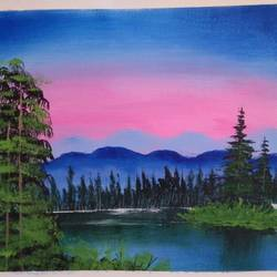 mountain lake view, 12 x 10 inch, sai amale ,12x10inch,canvas,paintings,landscape paintings,nature paintings   scenery paintings,paintings for dining room,paintings for living room,paintings for bedroom,paintings for office,paintings for hotel,paintings for kitchen,acrylic color,GAL02904141864