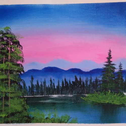 mountain lake view, 12 x 10 inch, sai amale ,12x10inch,canvas,paintings,landscape paintings,nature paintings | scenery paintings,paintings for dining room,paintings for living room,paintings for bedroom,paintings for office,paintings for hotel,paintings for kitchen,acrylic color,GAL02904141864