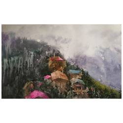 morning view, 22 x 22 inch, soyli saha,22x22inch,thick paper,paintings,landscape paintings,photorealism,realism paintings,realistic paintings,paintings for dining room,paintings for living room,paintings for bedroom,paintings for office,paintings for kids room,paintings for hotel,paintings for kitchen,paintings for school,watercolor,GAL0606541880