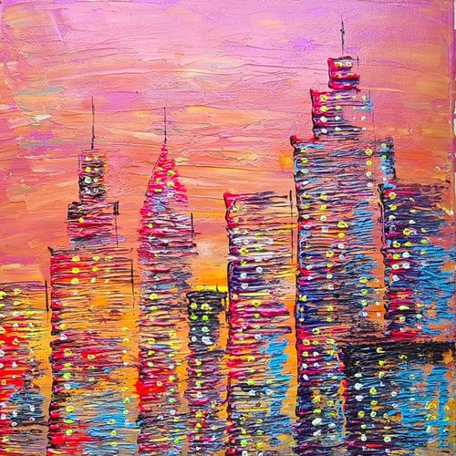 sunset cityscape , 14 x 20 inch, esther sandhya a,14x20inch,canvas,paintings,abstract paintings,cityscape paintings,landscape paintings,modern art paintings,art deco paintings,contemporary paintings,paintings for dining room,paintings for living room,paintings for bedroom,paintings for office,paintings for bathroom,paintings for kids room,paintings for hotel,paintings for kitchen,paintings for school,paintings for hospital,acrylic color,GAL0166341889