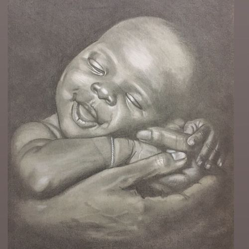 little smile, 9 x 12 inch, sandeep panchal,9x12inch,thick paper,drawings,portrait drawings,paintings for living room,graphite pencil,GAL02971141896