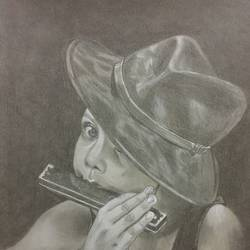 little musician , 9 x 12 inch, sandeep panchal,9x12inch,thick paper,drawings,portrait drawings,paintings for dining room,paintings for living room,paintings for bedroom,paintings for office,paintings for hotel,paintings for school,graphite pencil,GAL02971141903