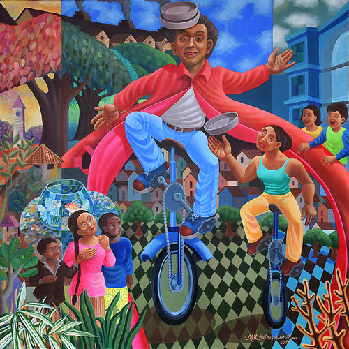unicycle street player, 48 x 48 inch, shobin george,48x48inch,canvas,paintings,abstract paintings,figurative paintings,folk art paintings,cityscape paintings,landscape paintings,modern art paintings,conceptual paintings,still life paintings,portrait paintings,nature paintings   scenery paintings,tanjore paintings,abstract expressionism paintings,art deco paintings,cubism paintings,dada paintings,expressionism paintings,illustration paintings,impressionist paintings,minimalist paintings,photorealism paintings,photorealism,pop art paintings,portraiture,realism paintings,street art,surrealism paintings,contemporary paintings,realistic paintings,paintings for dining room,paintings for living room,paintings for bedroom,paintings for office,paintings for bathroom,paintings for kids room,paintings for hotel,paintings for kitchen,paintings for school,paintings for hospital,acrylic color,GAL02366341904