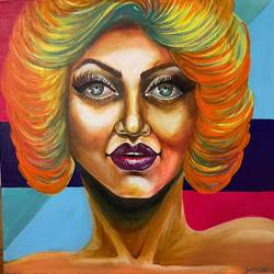 mila pops, 24 x 24 inch, gaurangi gupta,24x24inch,canvas,abstract paintings,portrait paintings,photorealism paintings,photorealism,pop art paintings,realism paintings,acrylic color,GAL02814641906