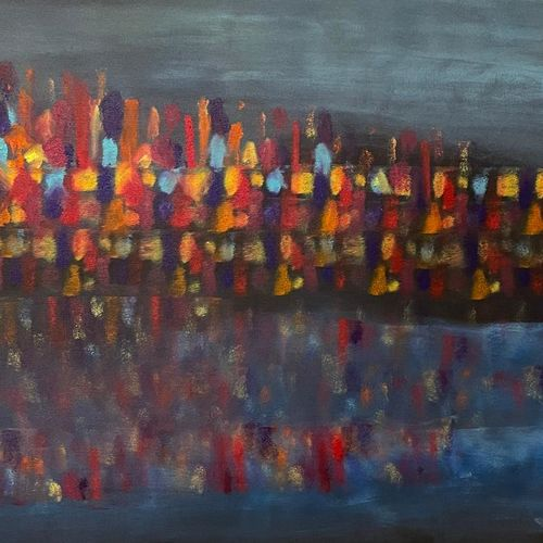 abstract revolt , ghat scene , 36 x 24 inch, gaurangi gupta,36x24inch,canvas,paintings,abstract paintings,landscape paintings,conceptual paintings,abstract expressionism paintings,photorealism paintings,photorealism,street art,kalighat painting,paintings for living room,paintings for living room,acrylic color,GAL02814641908