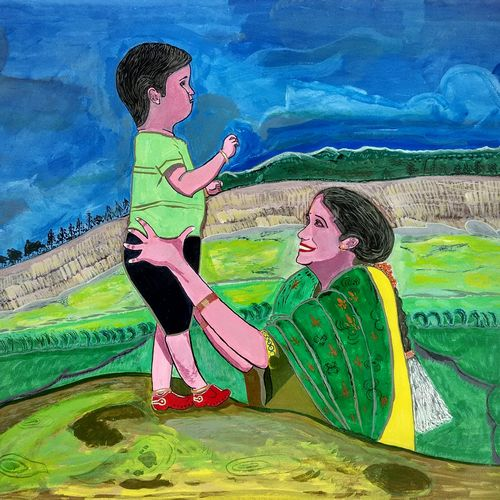 a mother showing the world to her new world, 24 x 18 inch, kumara srikiran,expressionist paintings,paintings for living room,paintings,drawing paper,acrylic color,24x18inch,GAL015014191