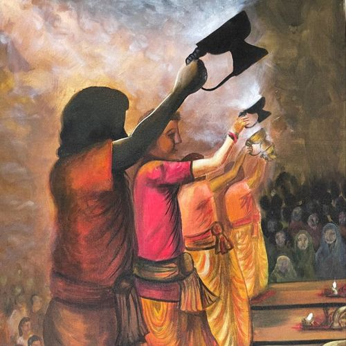 ganga aarti at varanasi, 24 x 36 inch, gaurangi gupta,24x36inch,canvas,abstract paintings,folk art paintings,landscape paintings,conceptual paintings,religious paintings,portrait paintings,photorealism paintings,photorealism,paintings for living room,paintings for living room,acrylic color,GAL02814641910