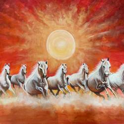 lucky seven running horses, 36 x 30 inch, gaurangi gupta,36x30inch,canvas,paintings,abstract paintings,wildlife paintings,folk art paintings,landscape paintings,religious paintings,animal paintings,horse paintings,paintings for living room,paintings for office,acrylic color,GAL02814641912