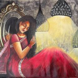 wait for me, 48 x 36 inch, gaurangi gupta,48x36inch,canvas,paintings,abstract paintings,folk art paintings,modern art paintings,conceptual paintings,portrait paintings,realistic paintings,paintings for living room,acrylic color,GAL02814641913