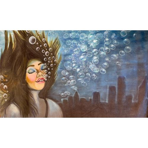underwater mermaid and city painting by gaurangi gupta, 24 x 18 inch, gaurangi gupta,24x18inch,canvas,paintings,abstract paintings,landscape paintings,modern art paintings,portrait paintings,art deco paintings,paintings for living room,acrylic color,GAL02814641919