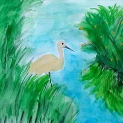 crane, 9 x 11 inch, mrs. kalyani lahon,wildlife paintings,paintings for living room,paper,poster color,9x11inch,GAL06574192