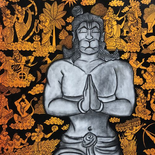 anjaneya, 38 x 32 inch, mrinal  dutt,38x32inch,canvas,paintings,religious paintings,contemporary paintings,paintings for dining room,paintings for living room,paintings for bedroom,paintings for office,paintings for bathroom,paintings for kids room,paintings for hotel,paintings for kitchen,paintings for school,paintings for hospital,acrylic color,charcoal,GAL01311741922