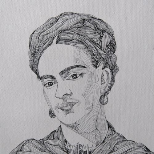 abstract art: zentangle portrait of frida kahlo, 13 x 13 inch, srimonti dutta,13x13inch,handmade paper,drawings,abstract drawings,fine art drawings,modern drawings,paintings for living room,paintings for bedroom,paintings for office,paintings for hotel,paintings for hospital,pen color,GAL02833841935