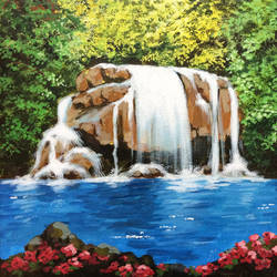 waterfall, 8 x 10 inch, aparna joshi,8x10inch,canvas,paintings,landscape paintings,impressionist paintings,photorealism paintings,paintings for dining room,paintings for living room,paintings for bedroom,paintings for bathroom,paintings for kids room,paintings for kitchen,paintings for school,acrylic color,GAL01573641944