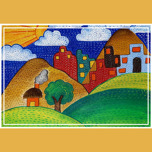 disappearing country life, 12 x 16 inch, akshita pillai,12x16inch,canvas,paintings,abstract paintings,modern art paintings,abstract expressionism paintings,expressionism paintings,paintings for office,paintings for kids room,paintings for hotel,paintings for kitchen,paintings for school,paintings for hospital,acrylic color,GAL01807941951
