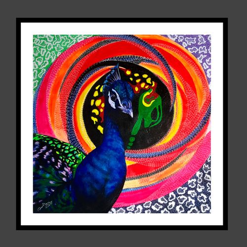 peacock, 24 x 24 inch, abhishek kumar,24x24inch,canvas,paintings,abstract paintings,wildlife paintings,modern art paintings,religious paintings,paintings for dining room,paintings for living room,paintings for bedroom,paintings for bathroom,paintings for hotel,paintings for kitchen,paintings for hospital,acrylic color,mixed media,GAL02958741952