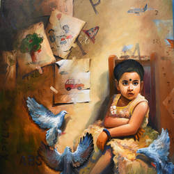 the child i, 42 x 48 inch, indrajit karmakar,42x48inch,canvas,paintings,figurative paintings,paintings for dining room,paintings for living room,paintings for bedroom,paintings for kids room,acrylic color,GAL02980941955