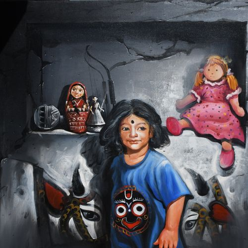 the child ii, 48 x 60 inch, indrajit karmakar,48x60inch,canvas,paintings,figurative paintings,paintings for living room,paintings for bedroom,paintings for kids room,acrylic color,GAL02980941956