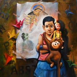 the child iii, 42 x 48 inch, indrajit karmakar,42x48inch,canvas,paintings,figurative paintings,paintings for dining room,paintings for living room,paintings for bedroom,paintings for kids room,paintings for hotel,paintings for school,acrylic color,enamel color,GAL02980941957