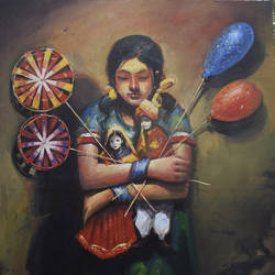 the child iv, 36 x 48 inch, indrajit karmakar,36x48inch,canvas,paintings,figurative paintings,paintings for dining room,paintings for living room,paintings for bedroom,paintings for hotel,acrylic color,GAL02980941958