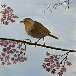 robin on cherry blossom tree, 20 x 24 inch, surekha .,20x24inch,canvas,wildlife paintings,paintings for dining room,paintings for living room,paintings for bedroom,paintings for office,paintings for hotel,paintings for school,paintings for hospital,paintings for dining room,paintings for living room,paintings for bedroom,paintings for office,paintings for hotel,paintings for school,paintings for hospital,oil color,GAL02977641960