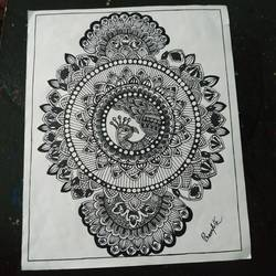 peacock mandala, 11 x 10 inch, rayana saha,11x10inch,drawing paper,paintings,illustration paintings,madhubani paintings | madhubani art,paintings for dining room,paintings for living room,ink color,pen color,GAL01304641961
