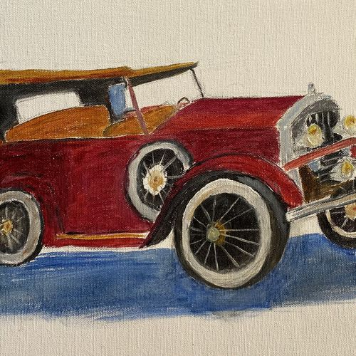 vintage car, 16 x 12 inch, surekha .,16x12inch,canvas board,paintings,cityscape paintings,realism paintings,paintings for dining room,paintings for living room,paintings for bedroom,paintings for office,paintings for bathroom,paintings for kids room,paintings for hotel,paintings for school,paintings for hospital,oil color,GAL02977641965