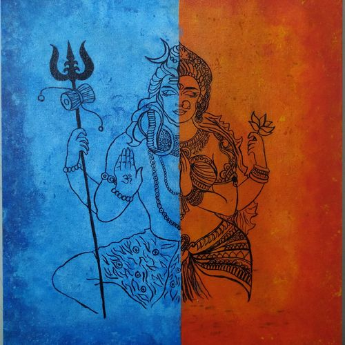 shiv parvati, 16 x 20 inch, pranali patel,16x20inch,canvas board,paintings,lord shiva paintings,paintings for living room,paintings for living room,acrylic color,GAL02546141975