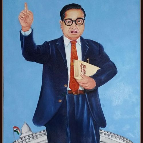 dr.b.r.ambedkar, 20 x 35 inch, dixit solanki ,paintings for living room,figurative paintings,canvas,oil,20x35inch,GAL011314198