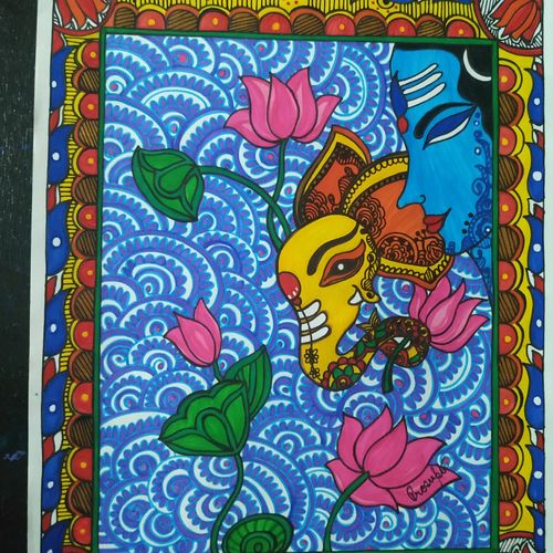 worship, 12 x 10 inch, rayana saha,12x10inch,drawing paper,paintings,folk art paintings,madhubani paintings | madhubani art,paintings for living room,paintings for office,paintings for hotel,paintings for school,paintings for hospital,pen color,GAL01304641986