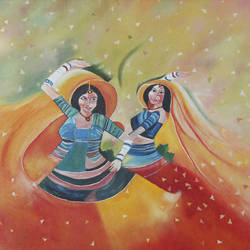 rhythmic dance, 32 x 24 inch, manisha jahagirdar,folk art paintings,paintings for living room,canvas,oil,32x24inch,GAL015064199