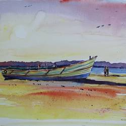 thangai patnam, kanyakumari, 15 x 11 inch, vivek anand,15x11inch,canson paper,paintings,landscape paintings,paintings for living room,watercolor,GAL0366041994