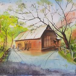shakespeare garden, central park, new york, 15 x 11 inch, vivek anand,15x11inch,canson paper,landscape paintings,paintings for living room,paintings for living room,watercolor,GAL0366041995