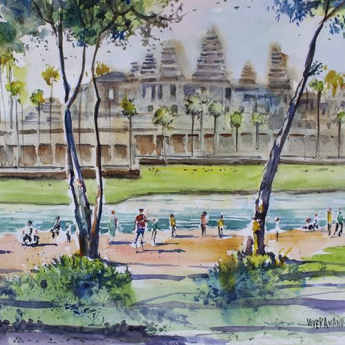 angkor wat, combodia, 15 x 11 inch, vivek anand,15x11inch,canson paper,paintings,landscape paintings,paintings for living room,watercolor,GAL0366041996