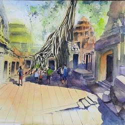 ta prohm temple, cambodia, 15 x 11 inch, vivek anand,15x11inch,canson paper,paintings,landscape paintings,paintings for living room,watercolor,GAL0366041997