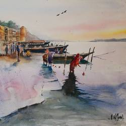 varanasi, 15 x 11 inch, vivek anand,15x11inch,canson paper,paintings,landscape paintings,paintings for living room,watercolor,GAL0366041998