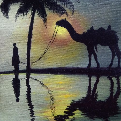 arabian desert sunset, 10 x 15 inch, mehul boricha,10x15inch,canvas,paintings,landscape paintings,animal paintings,realistic paintings,paintings for dining room,paintings for living room,paintings for bedroom,paintings for office,paintings for kids room,paintings for hotel,paintings for kitchen,paintings for hospital,oil color,GAL02737742000
