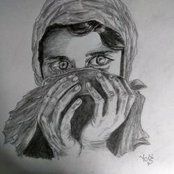 afghani girl, 12 x 16 inch, yoginder pal,12x16inch,cartridge paper,drawings,portrait drawings,paintings for dining room,paintings for living room,paintings for office,graphite pencil,GAL02988442002