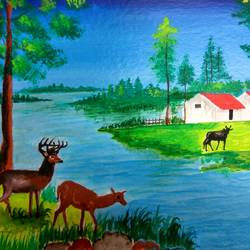 animals near water enjoying, 10 x 13 inch, yoginder pal,10x13inch,brustro watercolor paper,paintings,landscape paintings,paintings for dining room,paintings for living room,paintings for bedroom,paintings for office,paintings for kids room,paintings for school,acrylic color,GAL02988442003