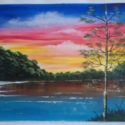 lake view mountain scenery , 12 x 10 inch, sai amale ,12x10inch,canvas,paintings,landscape paintings,nature paintings | scenery paintings,paintings for dining room,paintings for living room,paintings for bedroom,paintings for office,paintings for hotel,paintings for kitchen,acrylic color,GAL02904142006