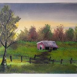 lovely meadow home , 12 x 10 inch, sai amale ,12x10inch,canvas,paintings,landscape paintings,nature paintings | scenery paintings,paintings for dining room,paintings for living room,paintings for bedroom,paintings for office,paintings for hotel,paintings for kitchen,acrylic color,GAL02904142007