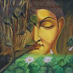 tranquility, 16 x 16 inch, manisha jahagirdar,buddha paintings,paintings for living room,religious paintings,paintings for office,canvas,oil,16x16inch,religious,peace,meditation,meditating,gautam,goutam,buddha,forest,flowers,leafs,GAL015064201