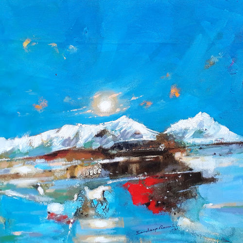 blue skies, icy mountains and me (landscape), 18 x 18 inch, sandeep rawal ,18x18inch,canvas,paintings,abstract paintings,landscape paintings,modern art paintings,nature paintings | scenery paintings,art deco paintings,contemporary paintings,love paintings,water fountain paintings,paintings for dining room,paintings for living room,paintings for bedroom,paintings for office,paintings for bathroom,paintings for kids room,paintings for hotel,paintings for kitchen,paintings for school,paintings for hospital,acrylic color,GAL0251142010