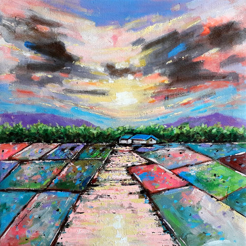 farm house (landscape), 18 x 18 inch, sandeep rawal ,18x18inch,canvas,paintings,abstract paintings,flower paintings,cityscape paintings,landscape paintings,modern art paintings,nature paintings   scenery paintings,abstract expressionism paintings,contemporary paintings,realistic paintings,love paintings,paintings for dining room,paintings for living room,paintings for bedroom,paintings for office,paintings for bathroom,paintings for kids room,paintings for hotel,paintings for kitchen,paintings for school,paintings for hospital,acrylic color,GAL0251142015