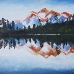 mirror image, 30 x 22 inch, manisha jahagirdar,landscape paintings,paintings for living room,canvas,oil,30x22inch,GAL015064202
