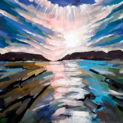 sunrise and reflection (landscape) -2, 22 x 40 inch, sandeep rawal ,22x40inch,canvas,paintings,abstract paintings,landscape paintings,modern art paintings,nature paintings | scenery paintings,abstract expressionism paintings,contemporary paintings,water fountain paintings,paintings for dining room,paintings for living room,paintings for bedroom,paintings for office,paintings for bathroom,paintings for kids room,paintings for hotel,paintings for school,paintings for hospital,acrylic color,GAL0251142020