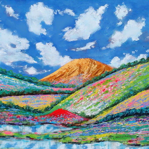 flower valley dreamland (landscape) - 1, 23 x 18 inch, sandeep rawal ,23x18inch,canvas,paintings,abstract paintings,flower paintings,landscape paintings,modern art paintings,conceptual paintings,nature paintings   scenery paintings,abstract expressionism paintings,art deco paintings,contemporary paintings,realistic paintings,love paintings,water fountain paintings,paintings for dining room,paintings for living room,paintings for bedroom,paintings for office,paintings for bathroom,paintings for kids room,paintings for hotel,paintings for kitchen,paintings for school,paintings for hospital,acrylic color,GAL0251142026
