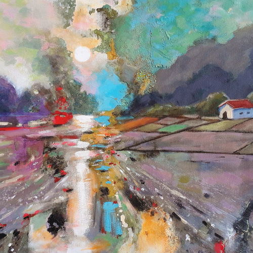 sunrise at the farm house (landscape), 30 x 18 inch, sandeep rawal ,30x18inch,canvas,paintings,abstract paintings,flower paintings,landscape paintings,modern art paintings,conceptual paintings,nature paintings | scenery paintings,abstract expressionism paintings,art deco paintings,contemporary paintings,realistic paintings,love paintings,water fountain paintings,paintings for dining room,paintings for living room,paintings for bedroom,paintings for office,paintings for bathroom,paintings for kids room,paintings for hotel,paintings for kitchen,paintings for school,paintings for hospital,acrylic color,GAL0251142029